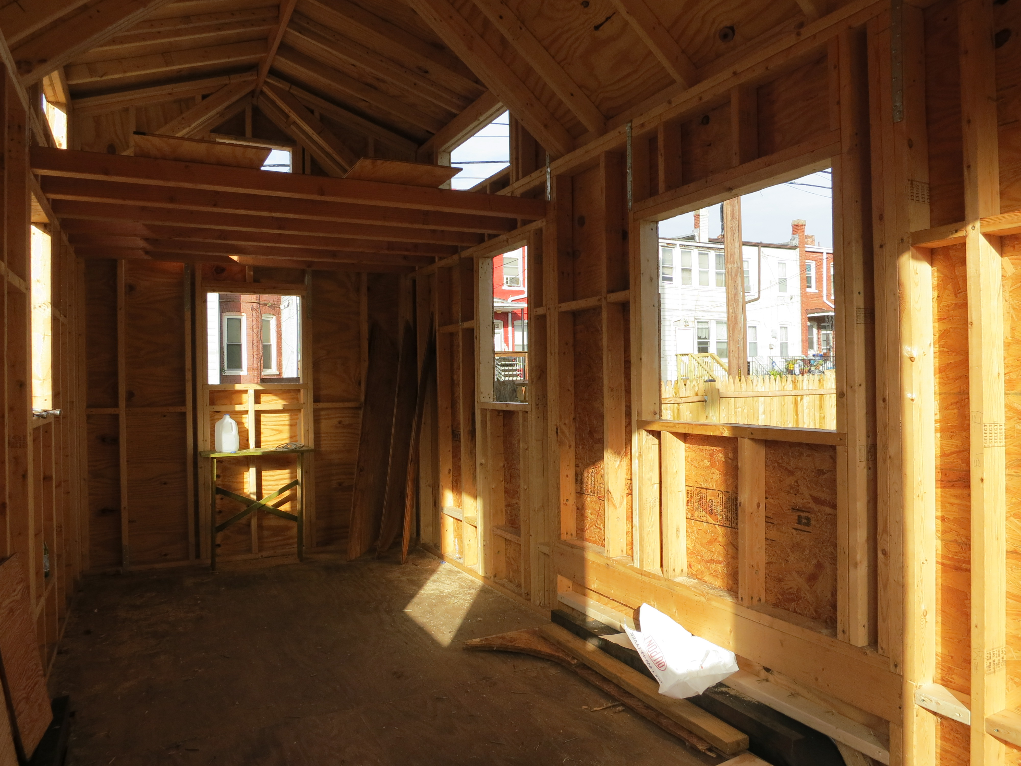 House inside with windows cut out and new loft
