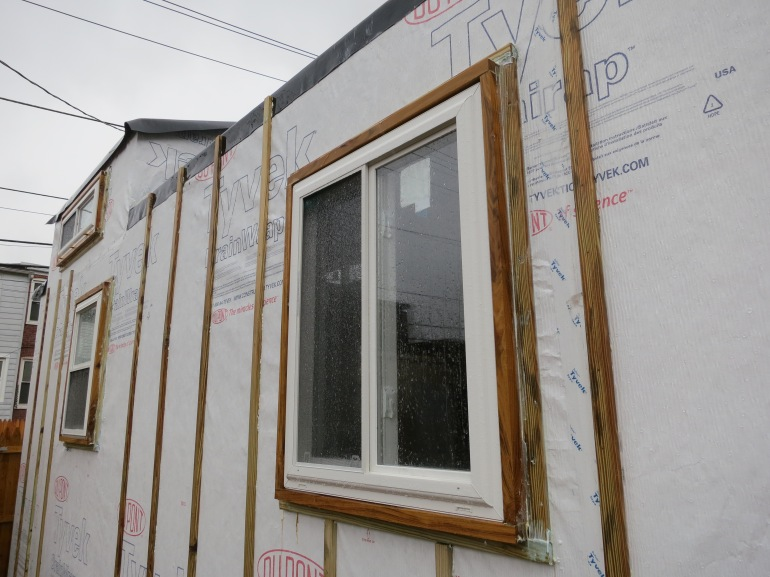 Windows and furring strips - ready for the siding