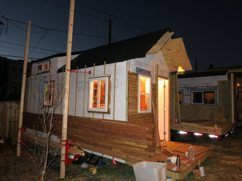 Siding started, EPDM on roof