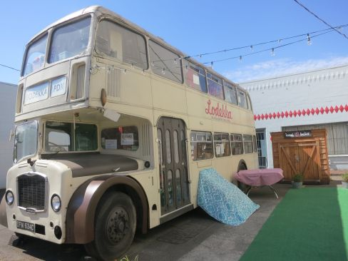 Double decker bus turned dress shop