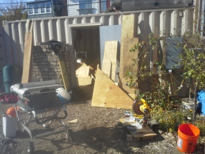 Time to organize the shipping container full of building supplies!