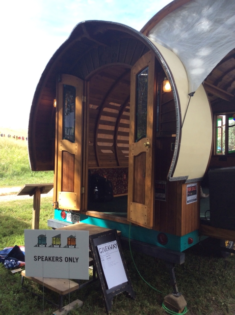 The best speaker stage ever - in the backyard bandstand wagon!